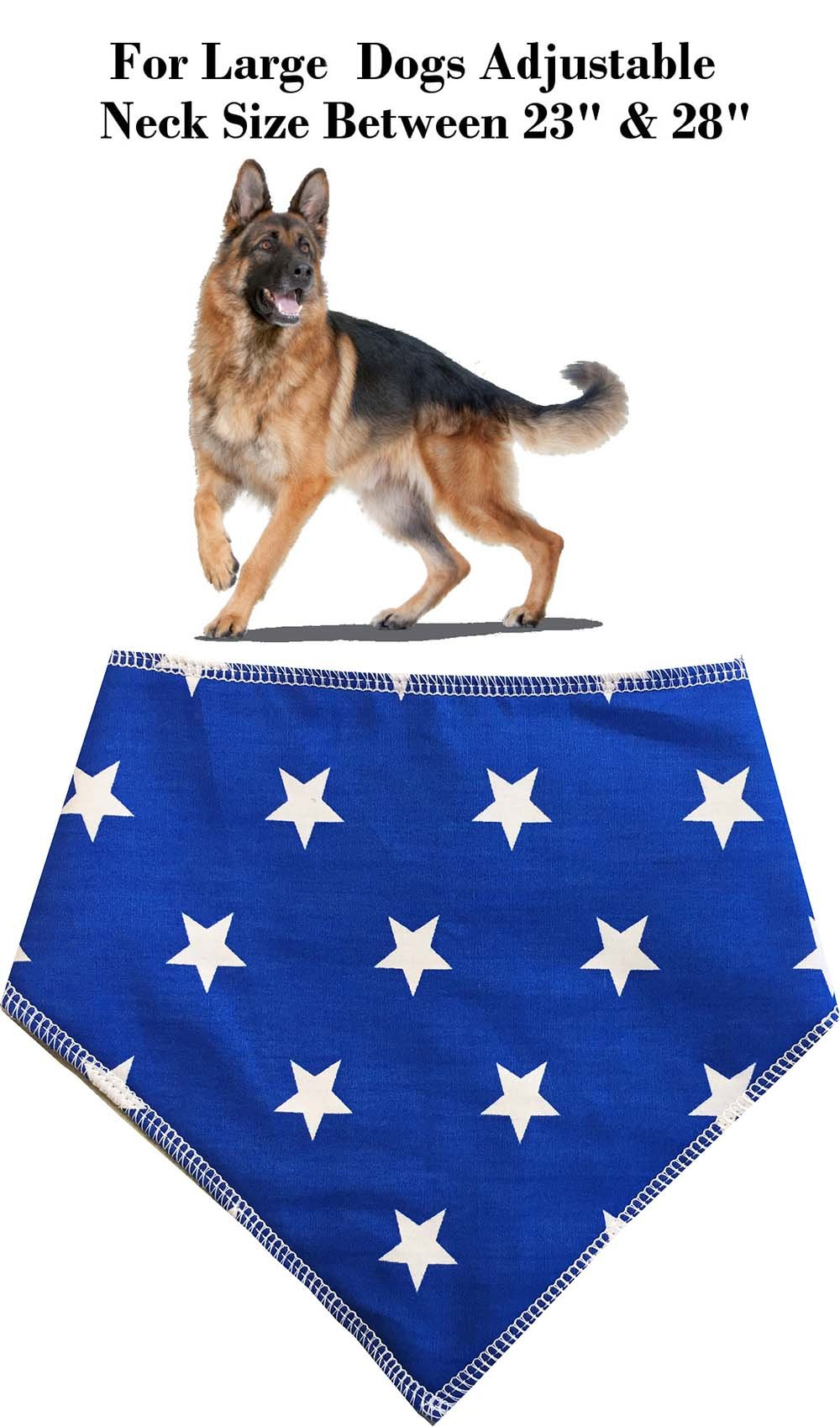 Spoilt Rotten Pets (S4) Branded Blue With White Stars, Dog Bandana Adjustable Neck to Fit Large to Extra/Large Dogs – Neck Size 23″ – 28″ Generally Fits Chow Chow, German Shepherd, St Bernard, Dogue de Bordeaux and Similar Sized Dogs.