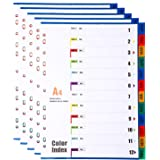 5 Pièces Feuillets Intercalaires 12 Positions, Intercalaires A4 Diviseurs de mois Janv-Déc, 12 Onglets avec Table des Matière