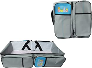 Babies Bloom Grey Baby Travel Bed Cot Baby Bassinet and Diaper Bag with Mosquito Net