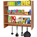 Callas Wooden Wall Mounted Shelves with Hooks | Floor Rack | Organizer | Shelf for Kitchen Storage Boxes (3 Shelves | Color -