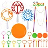 ZOYLINK Bubble Wands Set 23PCS Kids Bubble Wand Outdoor Game Toy Creative Assorted Big Bubble Wand Toy for Children…
