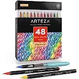 Arteza Pennarelli Acquerello Professionali Brush Pen, Set da 48 Colori Acquerellabili, Punta Flessibile Morbida a Pennello, P