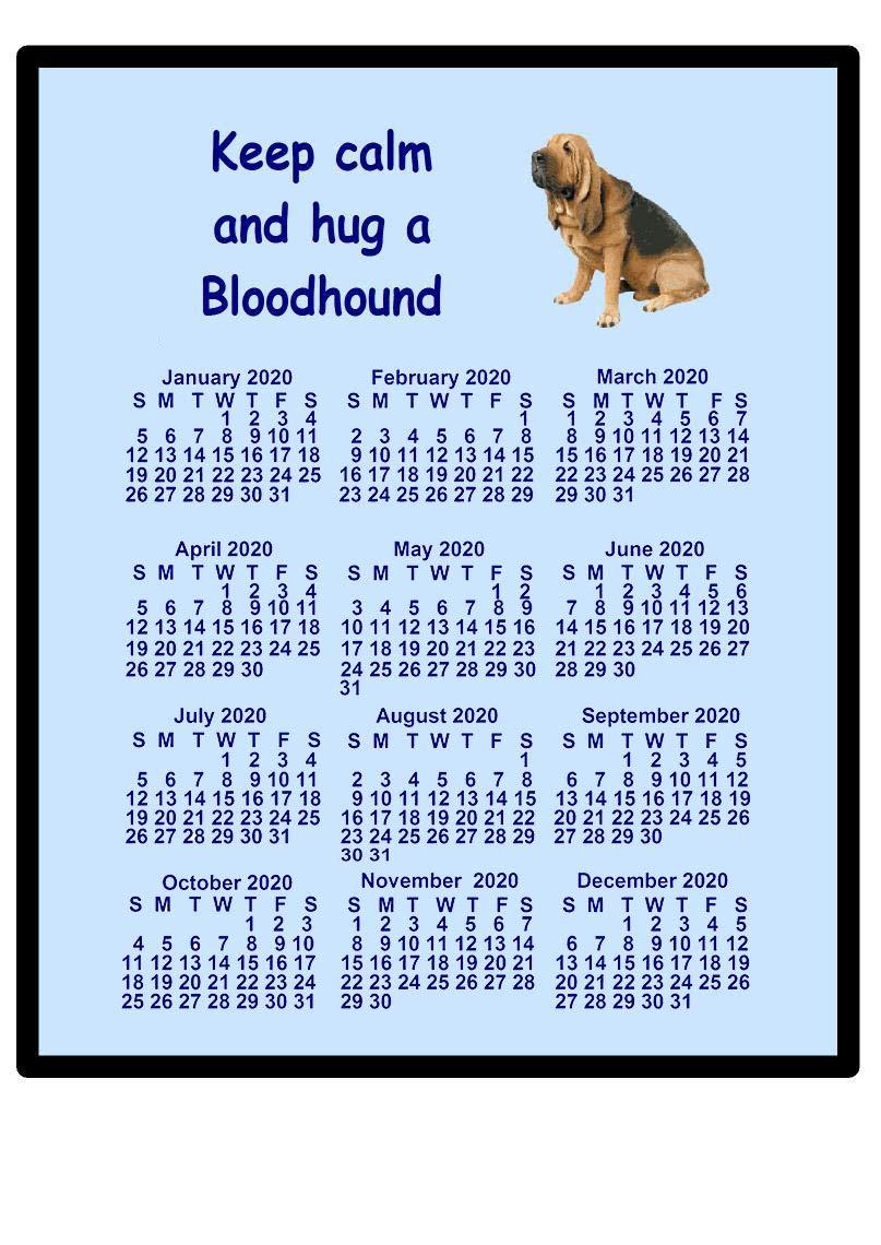 Bloodhound – 2021 calendar Mouse mat (keep calm)