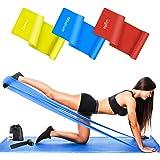 Wrei Bandas Elasticas Fitness, 1.5M/1.8M/2.0M Bandas de Resistencia con 3 Niveles, Cintas Elasticas Fitness para Yoga, Pilate