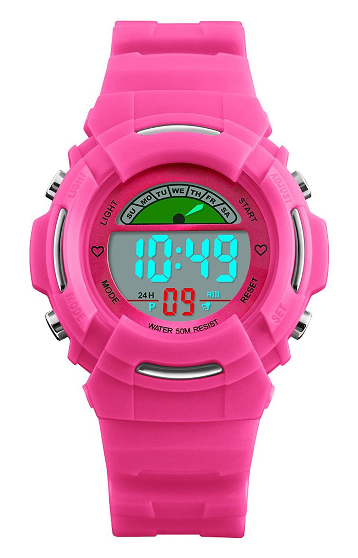 244e71c559db Relojes digitales para niñas - 5 ATM impermeable deportes al aire ...
