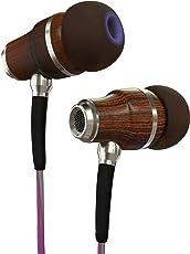 Symphonized NRG 3.0 IN EAR KOPFHÖRER - Premium Ohrhörer aus edlem Holz, Mikrofon und Lautstärkeregler - Geräuschisolierende Ohrstöpsel für Zuhause und Unterwegs, perfekt zum Musikhören oder beim Sport - Lila & Grau