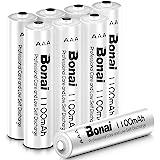 BONAI 8pcs Piles Rechargeables AAA 1.2V Ni-MH, 1100mAh Accu LR3 Rechargeables Batteries Grande Capacité 1200 Cycles Batterie Faible Auto-décharge