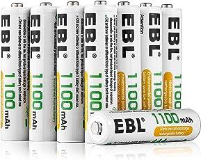 EBL AAA Micro NI-MH Akku 1100mAh Wiederaufladbare Batterien mit Aufbewahrungsbox 8er Pack