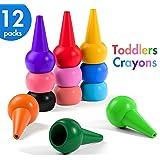 Henmi Kleinkinder Wachsmalstifte 12 Farben Handflächengriff Wachsmalstifte,kleinkinder Zeichenstift Malstifte Spielzeug für Kinder-Sicher und Nicht toxisch.