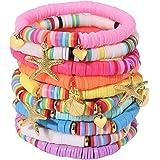 Ornaland Cavigliera con Bracciale da Donna Perline Piatte Colorate Collana di Argilla Colorata Fatta a Mano Gioielleriav
