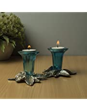 Homesake Antique Silver Candle Stand Grapevine, Diya Holder, Set of Two, Turquoise