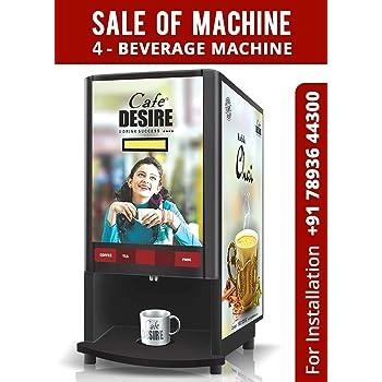 Cafe Desire Coffee Tea Vending Machine, 2 Lane with 1kg-Coffee and 1kg-Kadak Masala Premix (Black)