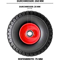 FRONTTOOL Sackkarrenrad pannensicher mit Kugellager PU Cross 260, 260 x 85 x 20 mm, Vollgummi, Ersatzrad Sackkarre…