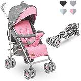 Lionelo Irma barnvagn hopfällbar buggy med ryggstödsjustering, 6-tums hjul, rosa