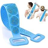 Brosse de Bain Silicone, Vakki Brosse de Douche, Brosse pour le corps Exfoliant Brosse dos douche à double face, Massage Conf