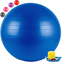 FITSY® Anti-Burst Yoga Exercise Gym Ball with Foot Pump, 65 cm