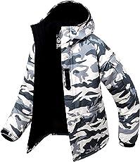 Southplay Herren Camouflage mit Kapuze wasserdichte Winter Snowboard-Elfenbein
