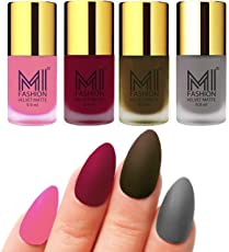Mi Fashion Velvet Dull Matte Nail Polish, Baby Pink, Mauve, Olive Brown, Grey, 39.6ml (4 Pieces)