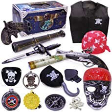 Toyvian Pirate Toys Set for Kids | Halloween Costume, Pretend Play, Set of 16