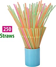 HOKIPO Plastic Bendable Drinking Straws, 250 Pieces, Multicolour
