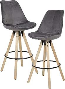 Wohnling 2er Set Barhocker Grün/Schwarz, Samt/Massivholz Skandinavisch 2 Stück, mit Lehne Sitzhöhe 77 cm