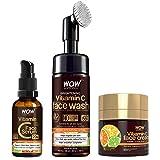 WOW Skin Science Vitamin C Face Ultimate 3 Kit with (Vitamin C Face Wash - Built In Brush + Vitamin C Serum + Vitamin C Face