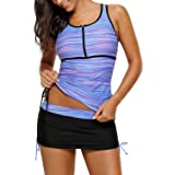 Roskiky Women's Printed Zip Front Racer Back Tankini Set Two Piece Skirted Bathing Suit