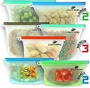 LEAFY HOME Reusable Silicone Food Bag | Silicone Food Storage Bag | Silicone Ziploc Bags | Silicone Bags Reusable | Dishwashe