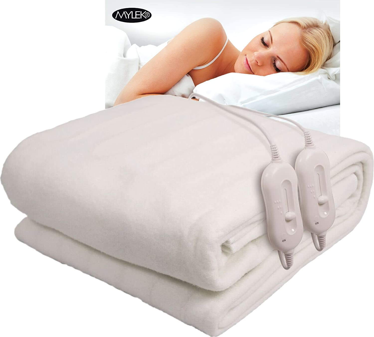 mylek electric blanket king size dual control 152 x 190 centimetres fully fitted heated mattress cover with elasticated skirt built in