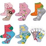 soxo Calcetines de Color para Mujer | Talla 35-40 | Calcetines Algodón Cortos con Dibujos Graciosos | Perfectos para Zapatos