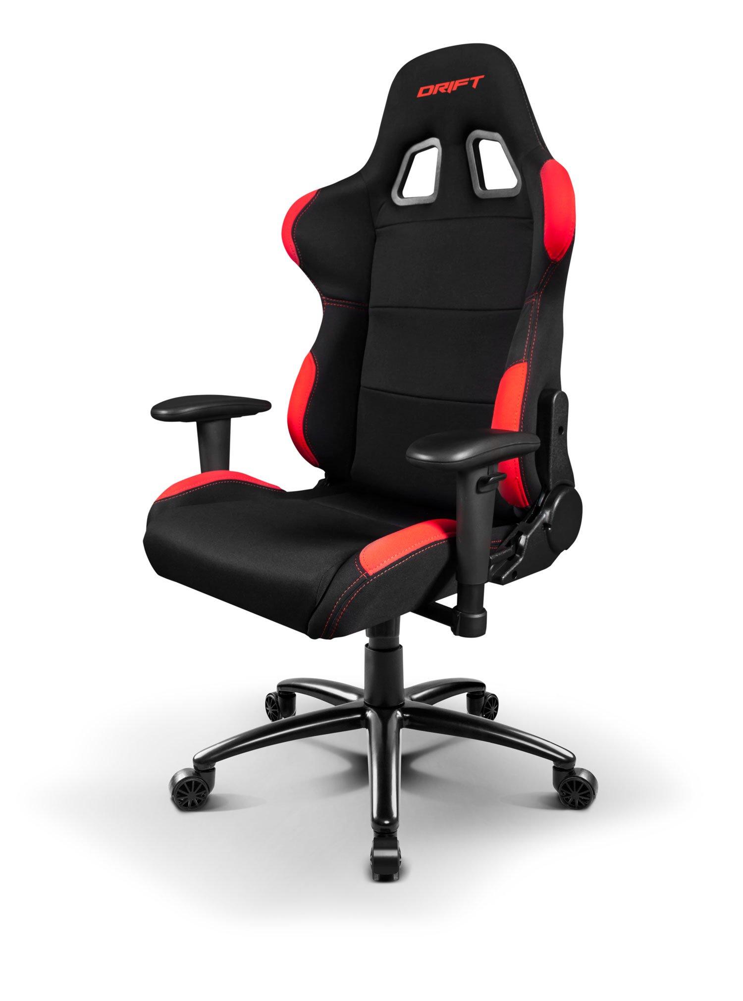 Drift DR100BR – Silla Gaming Profesional, (Tela Alta Calidad, Ergonómica), Color Negro/Rojo
