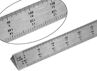 SHIVIRA Stainless Steel Triangle Scale Ruler, 30 cm long