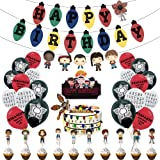 Ginkago Banniere Joyeux Anniversaire et Ballons de Confettis 30 pcs et Cake Toppers, Banner Happy Birthday Ballon Décoration