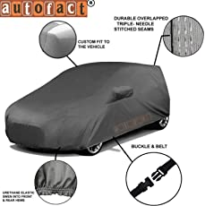Autofact Honda New Amaze 2018 Car Accessories - Car Body Cover with Mirror Pockets (Triple Stitched, Bottom Fully Elastic, Dark Grey)