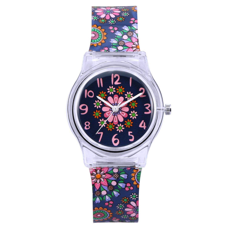 Zeiger Kids Analog Watches Children Sports Waterproof Cute Cartoon Toy Watch Teaching Wrist Watches Gift for Boys Girls – Mini Black Flowers