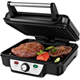 Aigostar Calore 30HHK - Panini Maker/Griglia, Pressa a sandwich, Griglia elettrica, 1800 Watt, Fredda al tocco, Antiaderente,