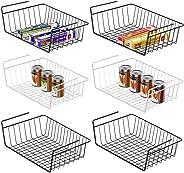 Under Shelf Basket, Veckle 6 Pack Under Shelf Wire Baskets Undershelf Storage Hanging Baskets Add-on Under Shelves Storage fo