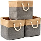 EZOWare Boîte de Rangement Pliable en Coton de Jute avec Poignée, Panier à Linge, Meuble de Rangement pour Étagère, Bibliothè