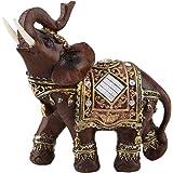 1 x geluksbrenger olifant figuur Feng Shui houtnerf geschenk desktop decoratie voor thuis (groot)