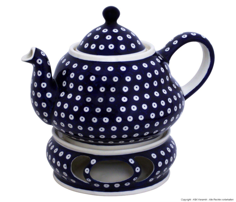 Boleslawiec Pottery Teepot 2.0 L with Warmer, Original Bunzlauer Keramik, Decor 42