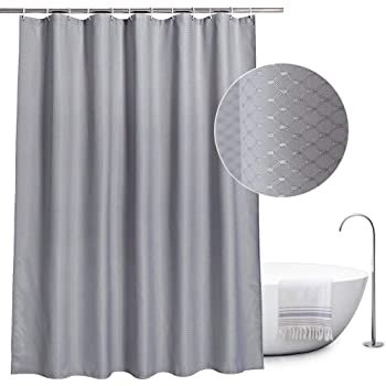 EurCross Fabric Shower Curtain Grey 180 200CMExtra Long Waterproof And Mildew Resistant Polyester