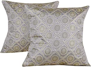 Lal Haveli Designer Silk Cushion Covers 20 x 20 inch Set of 2 Pcs