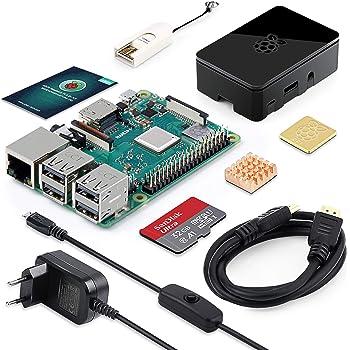 ABOX Raspberry Pi 3 Modell B Plus (B +) Ultimatives Starterkit mit 32GB Class 10 SanDisk Micro SD Karte, 3A EIN/aus-Schaltnetzteil und Premium Black (3b+ 32GB)