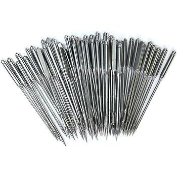 Stahl 75//11, 80//12, 90//14, 100//16, 110//18 mit Transparente Plastik Nadelflasche 50 St/ück N/ähmaschinennadel Silber BronaGrand Maschinennadeln Standard 75-110