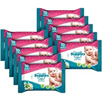 Supples Baby Wet Wipes Travel Pack with Aloe Vera and Vitamin E -10 Wipes/Pack (Pack of 10)