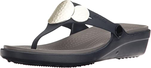 crocs Women's Sanrah Embellished Wedge Flip Fashion Sandals