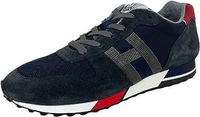 Hogan D90 Sneakers Uomo H383 Retro-Running Suede Blue/Grey Shoes Men
