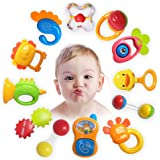 ZeeSquare Newborn Toy Accessories Baby Rattle Set 12 pcs Baby Teether Hanging Toy Shaker Grab and Spin Musical Toy Play Set E