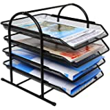 DAHSHA 4 Tier Metal Mesh File Tray A4 Documents Files Papers folders Holder Desk Organizer for Home and Office (28 x 29 x 30