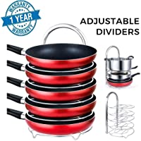Callas Heavy-Duty Adjustable Pan Pot Organizer Rack for 8 9 10 11 12 inch Cookware, 5-Tier Cookware Holder for Cabinet Worktop Storage, CA18